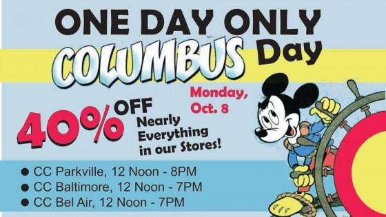 columbus day flash sale monday oct